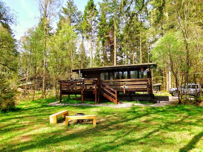 Photo for Secluded Forest Log Cabin with Hot Tub