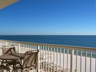 Direct view of gulf from wide balcony off living area and master bedroom!