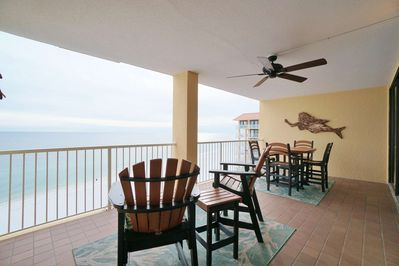 Large private balcony overlooking the beach and Gulf