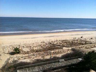 Winter View from Balcony of Ocean and Beach/it is closer than appears in photo