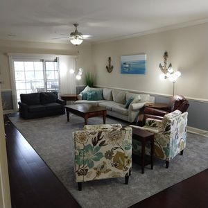 """Furnished LR, 50"""" TV, Roku, Pull out couch, 2 sittling chairs, chaise, and couch"""