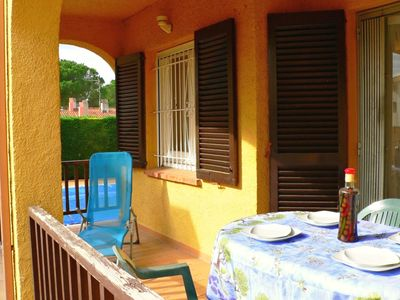 Photo for Ibiza apartment, ground floor, with terrace and a, next to the POOL for 4 p