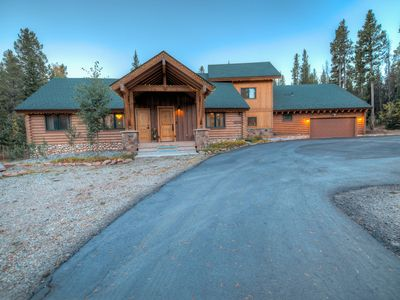 Photo for Luxury Log Cabin Home In Private Mountain Setting Just Minutes To Ski & Town