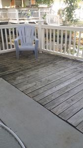 Lower back deck overlooking the canal/lake