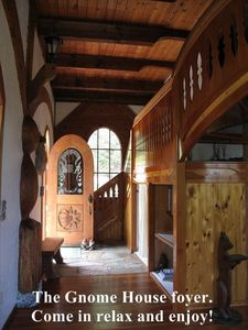 The Gnome House foyer. Come in relax and enjoy this famous chalet.