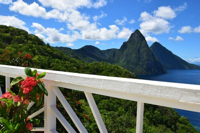 Incredible views of the Pitons and the Caribbean from our hilltop location
