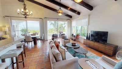 Plush, open living areas with upper level patio