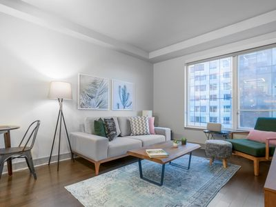 Photo for Roomy Seaport 1BR, w/ Pool, Gym + Roof Deck by Blueground