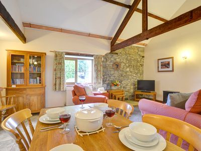 Photo for An attractive semi-detached single-storey stone cottage, backing onto the owners' farmyard on a smal
