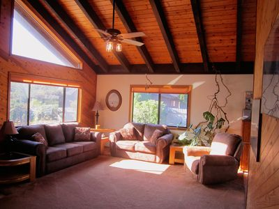 Main Living Room with Vaulted ceiling and beautiful natural lighting!
