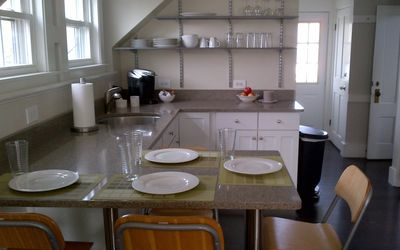 Spacious, bright, and airy eat in kitchen.