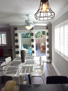 Plenty of space to sit down for a meal at the dining room area table.