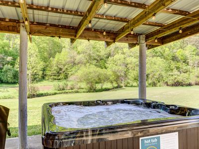 Photo for NEW LISTING! Creekside home w/ private hot tub, deck & fireplace!