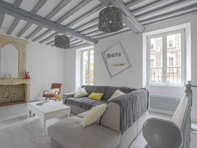 Photo for Comfy Apartment in Bayeux. Communal Terrace/Livingroom and kitchen
