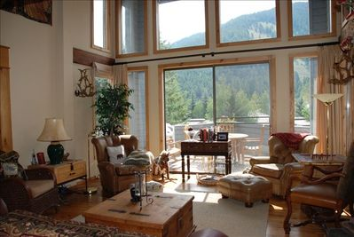 Relax with a good book and watch the skiiers and boarders come down Baldy.