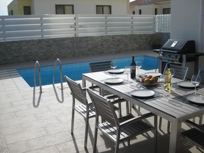 Photo for Luxury 5 star villa private pool and patio in quiet village, Larnaca.