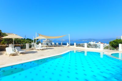 Large swimming pool with sea views