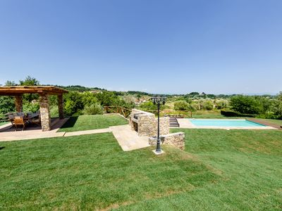 Photo for Private Villa with private pool, WIFI, TV, pets allowed, panoramic view, parking, close to Lucca
