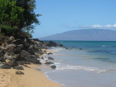 Kahana Beach with a view of Lanai