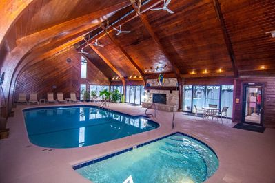 The beautiful indoor pool with hot tub, steam room and sauna