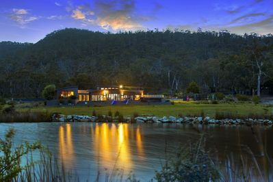 Property by sunset with Freycinet National Park in the background