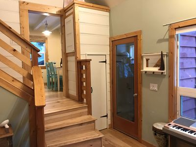 Stairwell from Living Room to Kitchen.