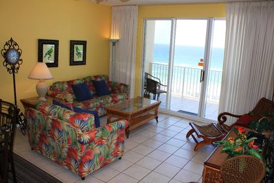 Living Room w/ Gulf Views, Balcony Access & New Couches (Summer 2015)