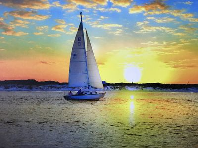 Photo for SAIL AWAY IN THE SUNSET FROM 1210 GULF FRONT BEACH DIRECTLY ON BEAUTIFUL SAND