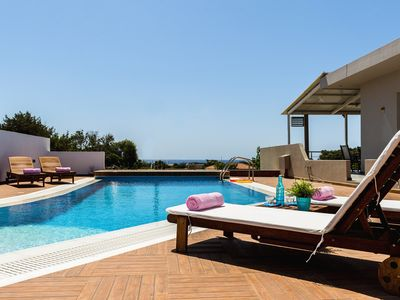 Photo for Sea View Villa in a tranquil place, 350m from the beach. Private pool, BBQ,Wi-Fi