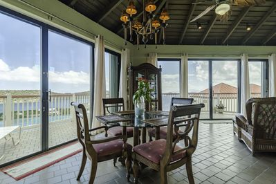 Dining table with view of ocean