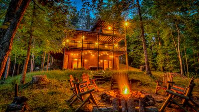 Photo for Campfire Cabin- Private Setting | Outdoor Living | Relaxing Hot Tub