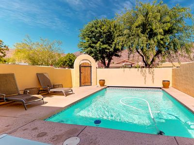Photo for Dog-friendly Santa Fe style home w/ a private pool, patio, & mountain views