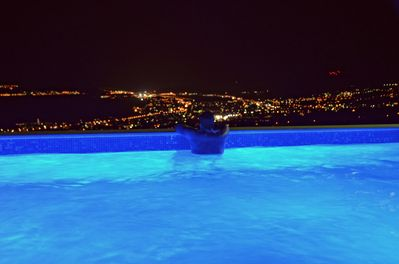 Panoramic night view from the pool