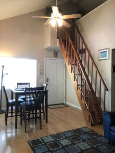 The stairs go up to the loft area that can sleep 4 guests comfortably.