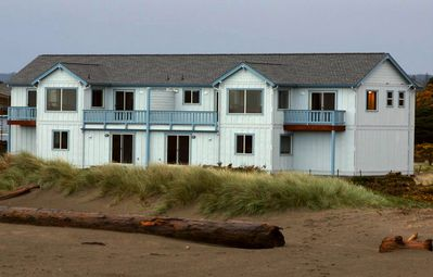 View of Seascape Cottages from Beach Side and foot steps from Beach Access.