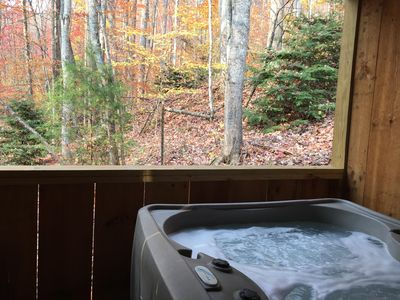 Hot Tub looking into the Pisgah National Forest!