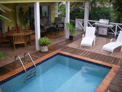 View of covered patio and plunge pool