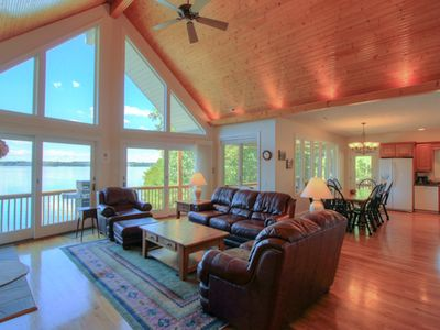 Photo for COVERED PORCHES -Widest Sunset Views on Lake, Beach, Canoes, Kayak, Internet