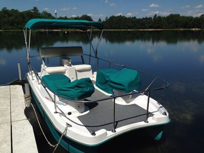 Electric pontoon boat for your enjoyment.  Seats four adults and two children.