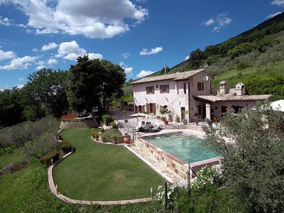 Photo for Private Beautifully restored farmhouse with breath taking view of Umbrian Valley