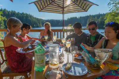 Dining on the wrap-around deck