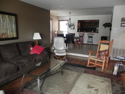 extended view of open and living room/dining area, perfect for together time