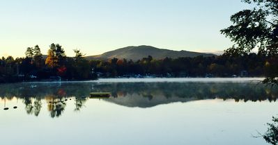 Fall morning view from shared dock