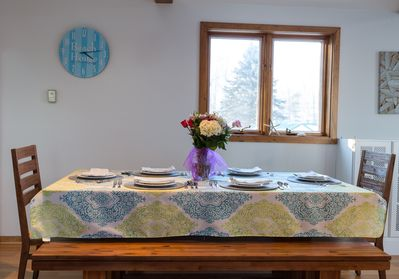 Spacious dining room table will seat the whole family