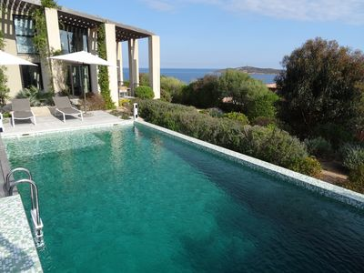 Photo for Luxurious villa with views of the sea and mountains, pool, beach is 3 min away