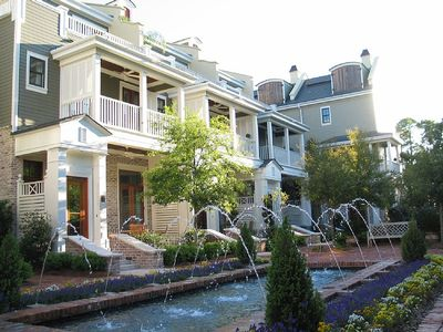 Beautiful Le Jardin Courtyard with flowing fountains and plush landscape