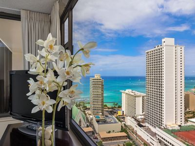 Photo for Sweeping Ocean Views from Prime High Floor Unit at the Waikiki Banyan Tower 1