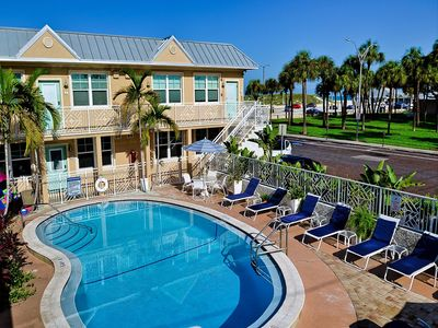 Condo exterior, private sparkling heated pool open year round!