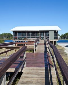 Back of house, beach walkover, view of Gulf and Oyster Lake