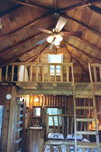 interior view of loft with skylight, back of cabin